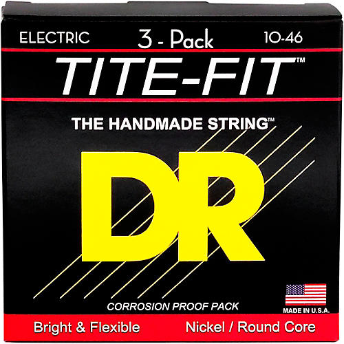 DR Strings MT-10 Tite-Fit Medium Electric Guitar Strings 3-Pack-thumbnail
