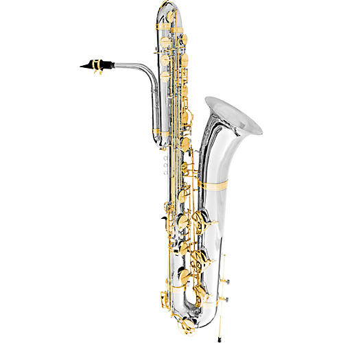 Oleg Maestro Bass Saxophone Silver Plated with Gold Keys