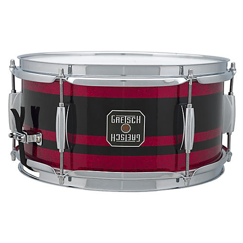 Gretsch Drums Mahogany Snare Drum Black with Red Stripe 6x12