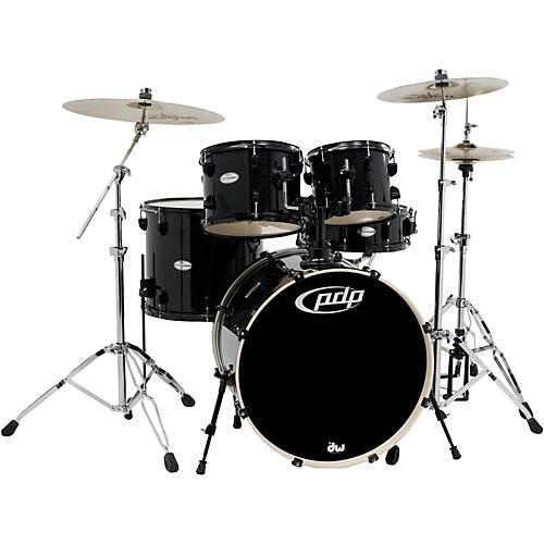 pdp by dw mainstage 5 piece drum set with zildjian cymbals black metallic guitar center. Black Bedroom Furniture Sets. Home Design Ideas