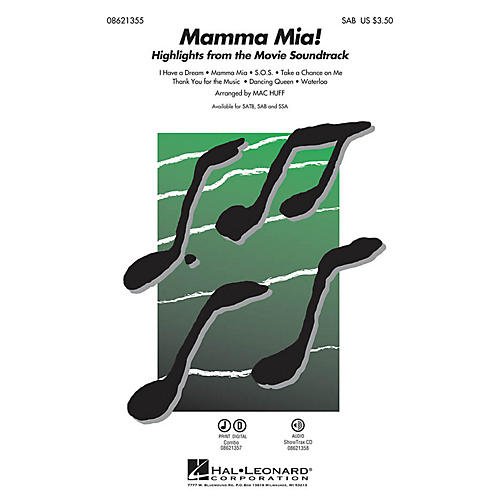 Hal Leonard Mamma Mia! (Highlights from the Movie Soundtrack) SAB by ABBA arranged by Mac Huff