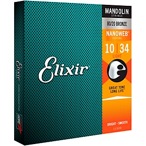 Elixir Mandolin Strings with NANOWEB Coating, Light .010-.034 by Elixir