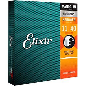Elixir Mandolin Strings with NANOWEB Coating, Medium .011-.040 by Elixir