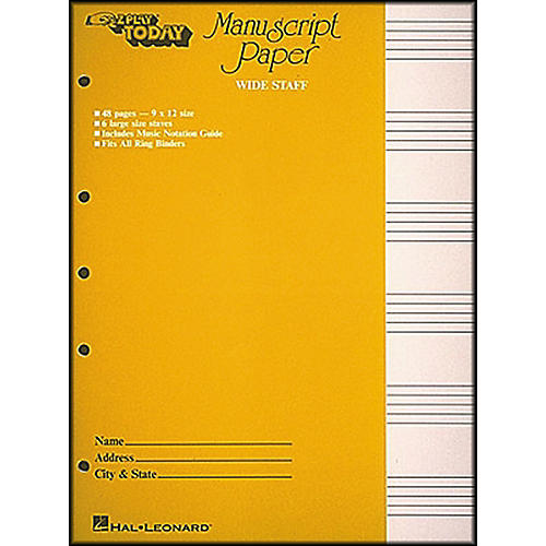 MANUSCRIPT PAPER WIDE STAFF RED 32PG