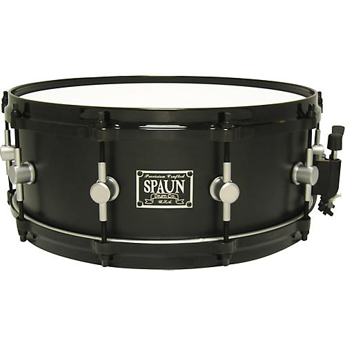 Spaun Maple Flat Black Snare Drum with Chrome Lugs-thumbnail