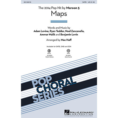 Hal Leonard Maps ShowTrax CD by Maroon 5 Arranged by Mac Huff