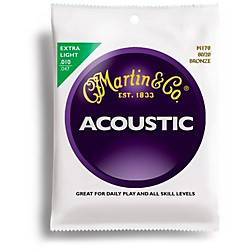 Martin M170 80/20 Bronze Round Wound Extra Light Acoustic Guitar Strings (41M170)