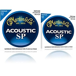 Martin MSP4200 Phosphor Bronze Medium Acoustic Guitar Strings 2 Pack (MSP4200-2PK)