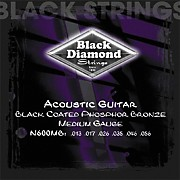 Black Diamond Medium Gauge Black Coated Phosphor Bronze Acoustic Guitar Strings