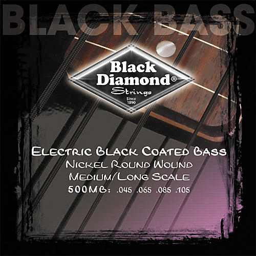 Black Diamond Medium Gauge Black Coated Roundwound Long Scale Bass Strings-thumbnail