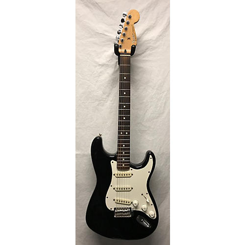 used fender mexican stratocaster solid body electric guitar black and white guitar center. Black Bedroom Furniture Sets. Home Design Ideas