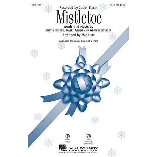 Hal Leonard Mistletoe 2-Part by Justin Bieber Arranged by Mac Huff