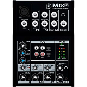 mackie mix5 5 channel compact mixer guitar center. Black Bedroom Furniture Sets. Home Design Ideas
