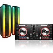 MixTrack Pro 3 DJ Controller with Pair of LightWave Powered PA Speakers