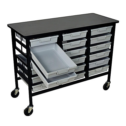 H. Wilson Mobile Workstation/ Storage Unit with 18 Single Storage Trays-thumbnail