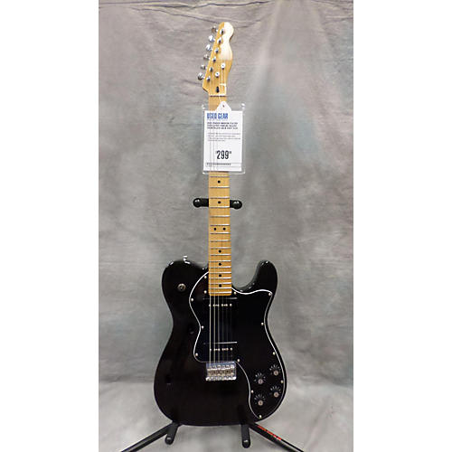 Fender Modern Player Telecaster Thinline Deluxe Trans Black Solid Body Electric Guitar