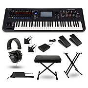 Yamaha Montage 6 61-Key Synthesizer with Stand Pedals Deluxe Keyboard Bench Cables and Headphones