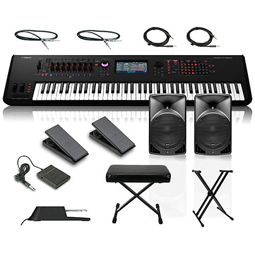 Yamaha Montage 7 76-Key Synthesizer with Powered Speakers Stand Pedals Deluxe Keyboard Bench and Cables-thumbnail