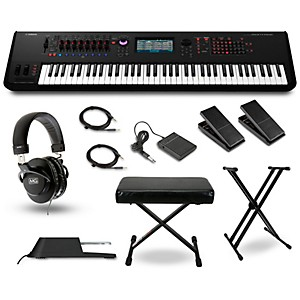 Yamaha Montage 7 76 Key Synthesizer with Stand, Pedals, Deluxe Keyboard Ben...