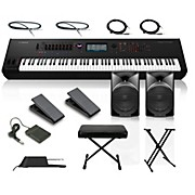 Yamaha Montage 8 88-Key Synthesizer with Powered Speakers Stand Pedals Deluxe Keyboard Bench and Cables