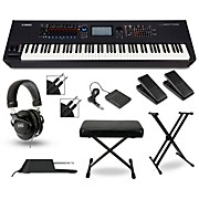 Yamaha Montage 8 88-Key Synthesizer with Stand, Pedals, Deluxe Keyboard Bench, Cables and Headphones