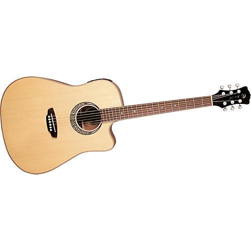 Luna Guitars Muse QA Quilted Ash Dreadnought Cutaway Acoustic-Electric Guitar-thumbnail