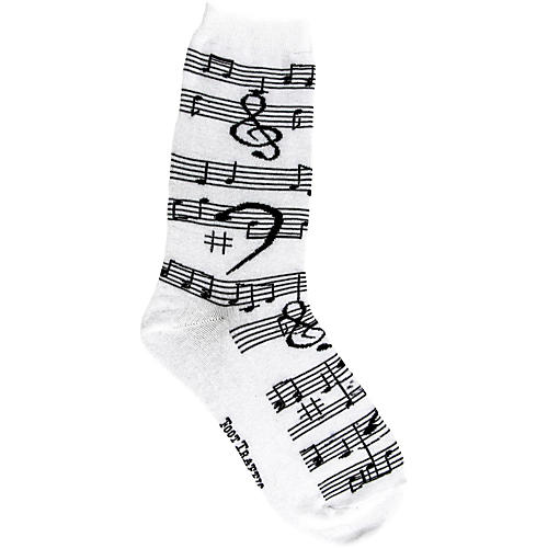 Foot Traffic Music Notes Women's Socks White-thumbnail