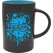 Musical Note Burst Black/Blue Café Mug