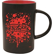 Musical Note Burst Black/Red Café Mug