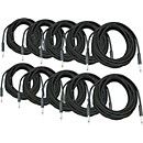 Musician's Gear BRAIDED INSTRUMENT CABLE 1/4 IN BLACK 30 FT 10-PACK (KIT-360607)