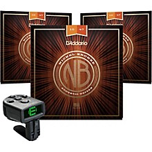 D'Addario NB1047 Nickel Bronze Extra Light Acoustic Strings 3-Pack with FREE NS Micro Headstock Tuner
