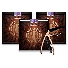 D'Addario NB1152 Nickel Bronze Custom Light 3-Pack Acoustic Strings and NS Reflex Capo Antique Bronze