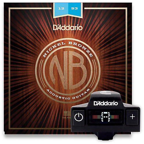 D'Addario NB1253 Nickel Bronze Light 3-Pack Acoustic Strings and NS Micro Soundhole Tuner w/ Color Screen-thumbnail