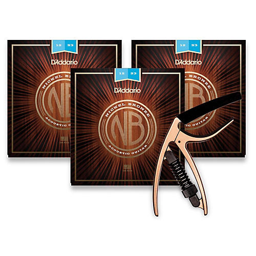 d 39 addario nb1253 nickel bronze light 3 pack acoustic strings and ns reflex capo antique bronze. Black Bedroom Furniture Sets. Home Design Ideas