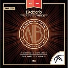 D'Addario NB1356 Nickel Bronze Acoustic Guitar Strings, Medium, 13-56 and NS Artist Capo