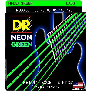 DR Strings NEON Hi-Def Green Bass SuperStrings Medium 6 String by DR Strings