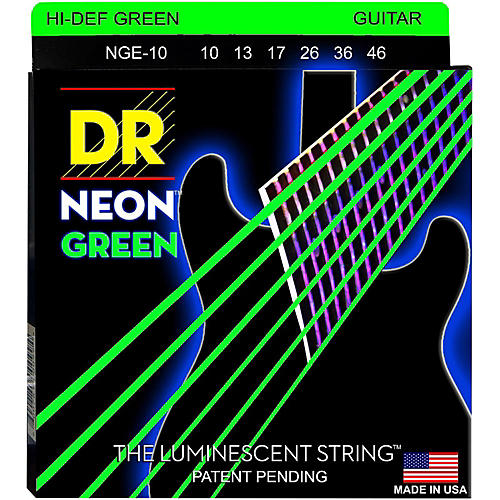 DR Strings NEON Hi-Def Green SuperStrings Medium Electric Guitar Strings