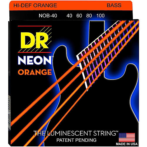 DR Strings NEON Hi-Def Orange Bass SuperStrings Light 4-String-thumbnail
