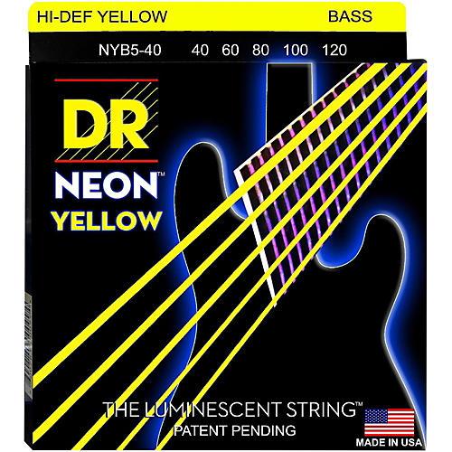 DR Strings NEON Hi-Def Yellow Bass SuperStrings Light 5-String-thumbnail
