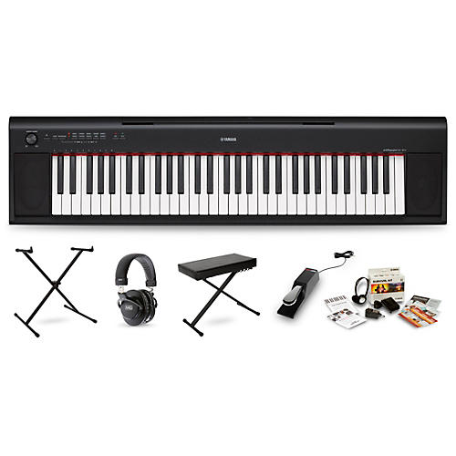 Yamaha NP12 (White) with Headphones, Bench, Stand and Sustain Pedal-thumbnail