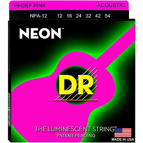 DR Strings NPA-12 NEON Hi-Def Phosphorescent Pink Acoustic Strings Medium