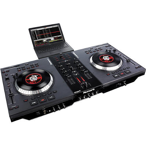 Numark ns7 dj turntable controller with serato itch for Dj controller motorized platters