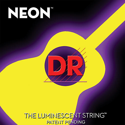 DR Strings NYA-12 NEON Hi-Def Phosphorescent Yellow Acoustic Strings Medium-thumbnail