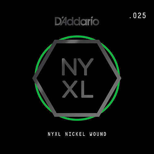 D'Addario NYNW025 NYXL Nickel Wound Electric Guitar Single String, .025