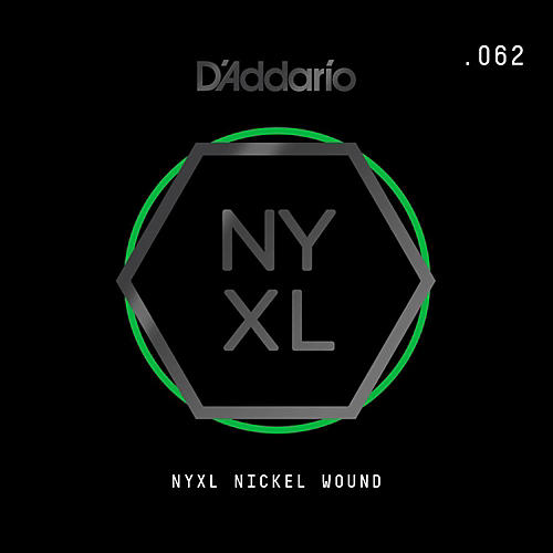 D'Addario NYNW062 NYXL Nickel Wound Electric Guitar Single String, .062-thumbnail