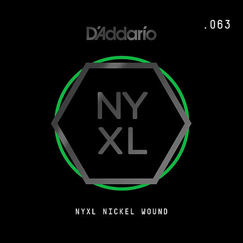 D'Addario NYNW063 NYXL Nickel Wound Electric Guitar Single String, .063-thumbnail