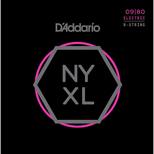 D'Addario NYXL0980 8-String Super Light Nickel Wound Electric Guitar Strings (09-80)-thumbnail