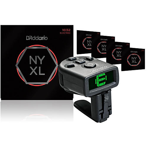 D'Addario NYXL1052 Electric Guitar Strings 5-Pack with FREE NS Micro Headstock Tuner-thumbnail