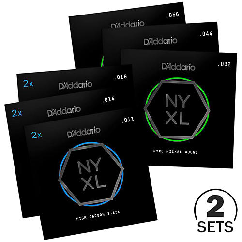 D'Addario NYXL1156 Medium Top/Extra Heavy Bottom Electric Guitar Strings Custom 2-Pack (11-56)