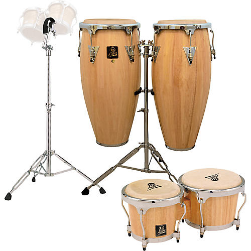 lp natural aspire conga set with bongos and stand guitar center. Black Bedroom Furniture Sets. Home Design Ideas